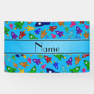 Personalized name sky blue rocket ships banner