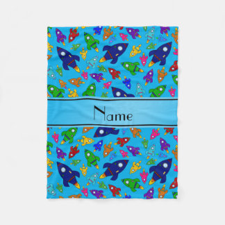 Personalized name sky blue rocket ships fleece blanket