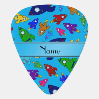 Personalized name sky blue rocket ships guitar pick