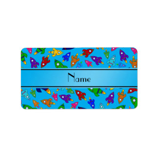 Personalized name sky blue rocket ships personalized address labels