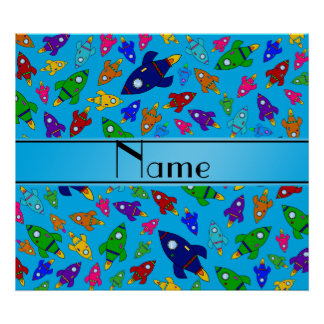 Personalized name sky blue rocket ships poster