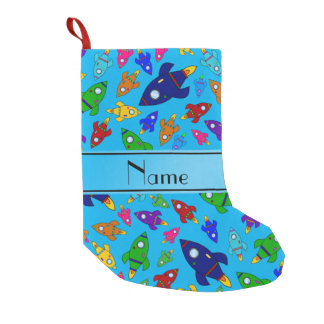 Personalized name sky blue rocket ships small christmas stocking