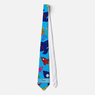 Personalized name sky blue rocket ships neck tie