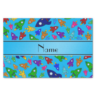Personalized name sky blue rocket ships tissue paper
