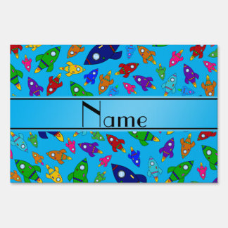 Personalized name sky blue rocket ships yard signs