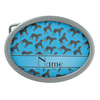 Personalized name sky blue rottweiler dog pattern oval belt buckles