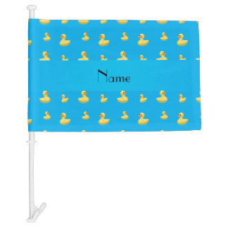 Personalized name sky blue rubber duck pattern car flag