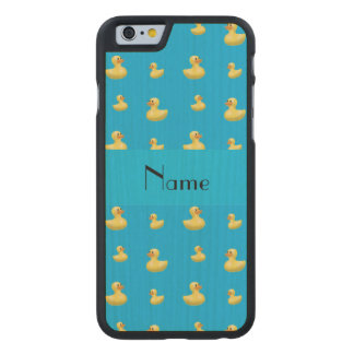 Personalized name sky blue rubber duck pattern carved® maple iPhone 6 case