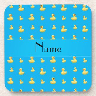 Personalized name sky blue rubber duck pattern drink coaster