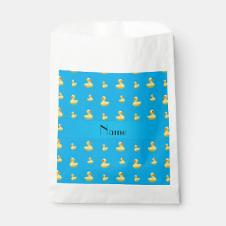 Personalized name sky blue rubber duck pattern favor bag