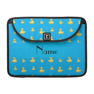 Personalized name sky blue rubber duck pattern MacBook pro sleeves