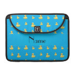 Personalized name sky blue rubber duck pattern sleeves for MacBooks