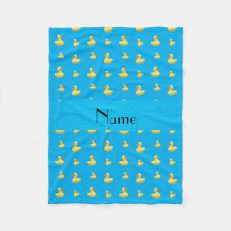 Personalized name sky blue rubber duck pattern fleece blanket