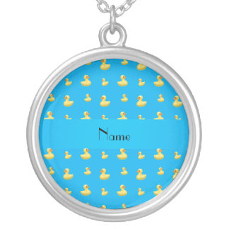 Personalized name sky blue rubber duck pattern pendants