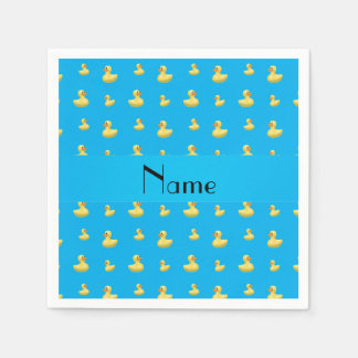 Personalized name sky blue rubber duck pattern standard cocktail napkin