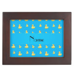 Personalized name sky blue rubber duck pattern keepsake boxes