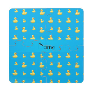 Personalized name sky blue rubber duck pattern puzzle coaster