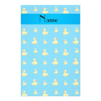 Personalized name sky blue rubber duck pattern personalized stationery