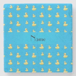 Personalized name sky blue rubber duck pattern stone beverage coaster
