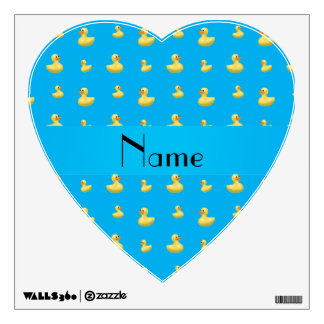 Personalized name sky blue rubber duck pattern wall sticker
