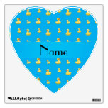 Personalized name sky blue rubber duck pattern wall skins