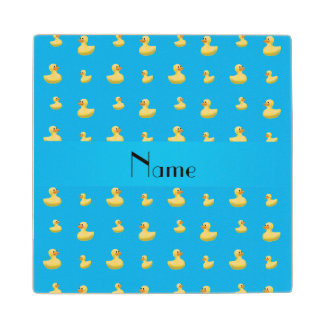 Personalized name sky blue rubber duck pattern wood coaster