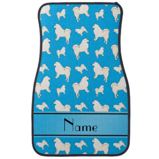 Personalized name sky blue Samoyed dogs Car Mat