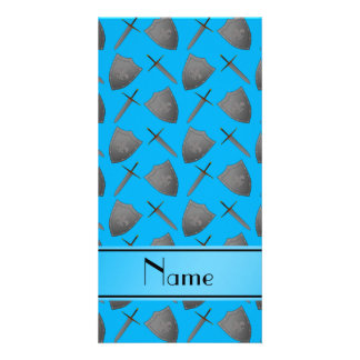 Personalized name sky blue shields and swords photo card