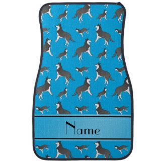 Personalized name sky blue siberian husky dogs car mat