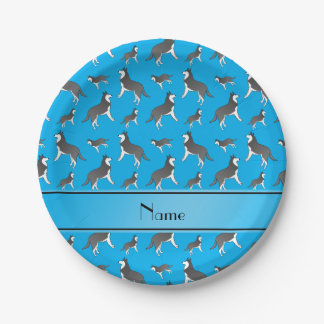 Personalized name sky blue siberian husky dogs paper plate