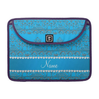 Personalized name sky blue silver lace sleeves for MacBook pro