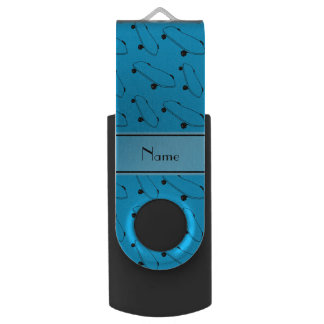 Personalized name sky blue skateboard pattern USB flash drive