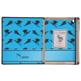 Personalized name sky blue ski pattern iPad folio cases