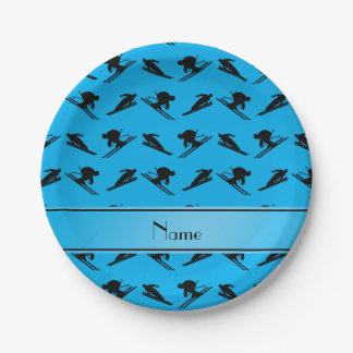Personalized name sky blue ski pattern paper plate