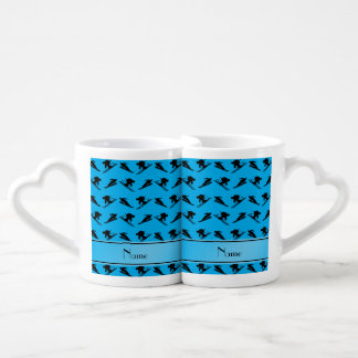 Personalized name sky blue ski pattern couples' coffee mug set