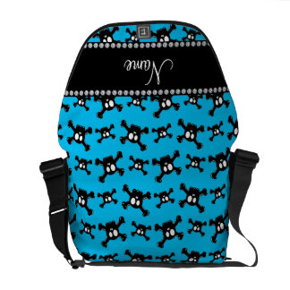 Personalized name sky blue skulls pattern courier bags