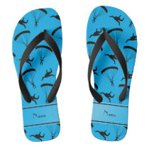Personalized name sky blue skydiving pattern flip flops