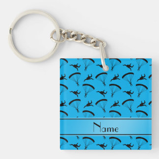 Personalized name sky blue skydiving pattern Single-Sided square acrylic keychain