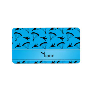 Personalized name sky blue skydiving pattern address label