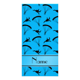 Personalized name sky blue skydiving pattern photo card