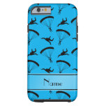 Personalized name sky blue skydiving pattern tough iPhone 6 case