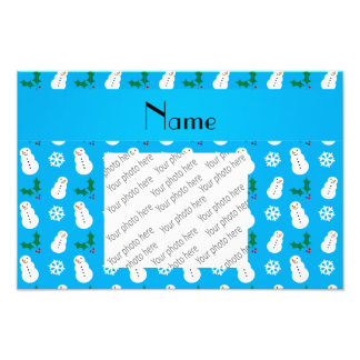 Personalized name sky blue snowman christmas photographic print