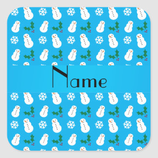 Personalized name sky blue snowman christmas square sticker