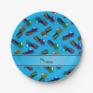 Personalized name sky blue snowmobiles paper plate