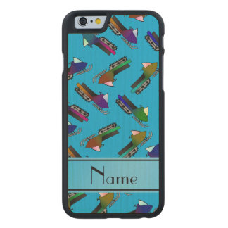 Personalized name sky blue snowmobiles carved® maple iPhone 6 slim case