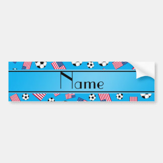 Personalized name sky blue soccer american flag bumper sticker
