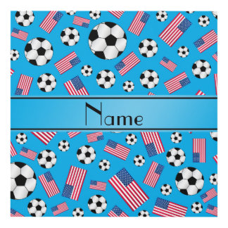 Personalized name sky blue soccer american flag panel wall art