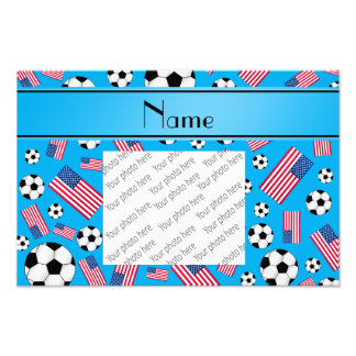 Personalized name sky blue soccer american flag photo print