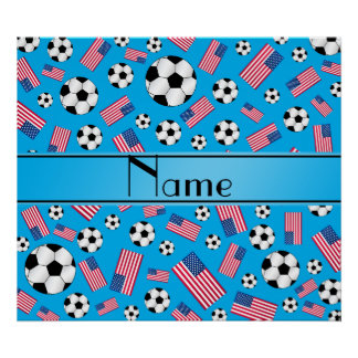Personalized name sky blue soccer american flag poster