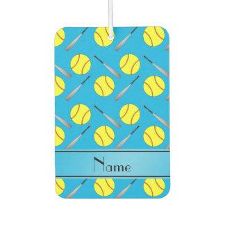 Personalized name sky blue softball pattern air freshener